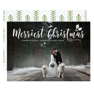 Modern Calligraphy Merriest Christmas Holiday Card