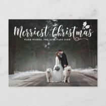 Modern Calligraphy Merriest Christmas Photo Holiday Postcard