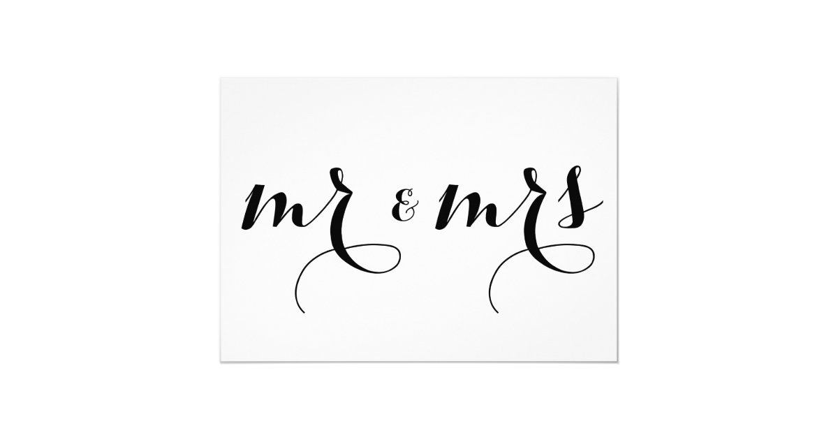 Modern calligraphy mr mrs wedding sign card zazzle