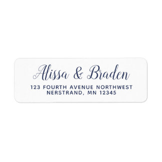 Modern Calligraphy -Navy- Address Labels Flipped