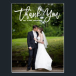 """Modern Calligraphy Overlay Photo Wedding Thank You Postcard<br><div class=""""desc"""">A stylish and whimsical photo thank you postcard featuring modern calligraphy. This will be perfect for weddings,  graduations and similar events.</div>"""