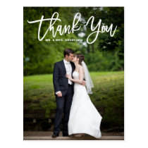 Modern Calligraphy Overlay Photo Wedding Thank You Postcard