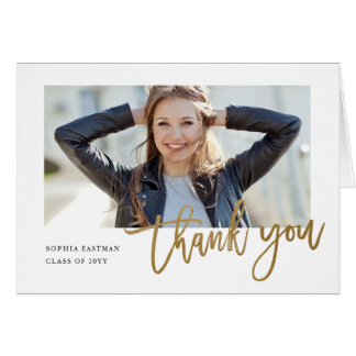 Modern Calligraphy photo graduation thank you note Card