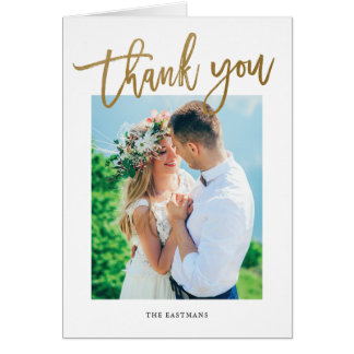 Modern Calligraphy photo thank you note Card
