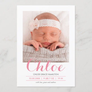 Modern Calligraphy Pink | Birth Announcement