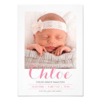 Modern Calligraphy Pink | Birth Announcement
