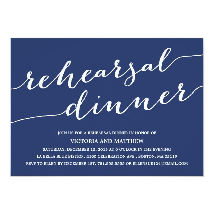 Modern calligraphy rehearsal dinner invitation zazzle