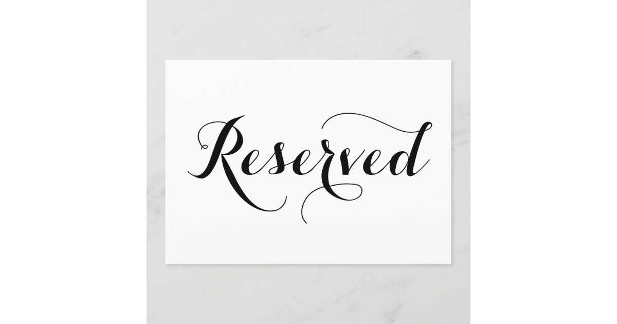 Modern Calligraphy Reserved Wedding Sign Card Zazzle Com