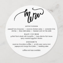 Modern Calligraphy Round Menu in black white