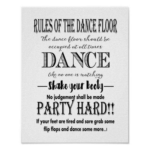 Modern calligraphy rules of dance floor wedding poster