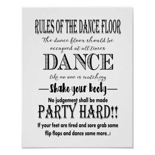 modern calligraphy rules of dance floor wedding poster zazzle com