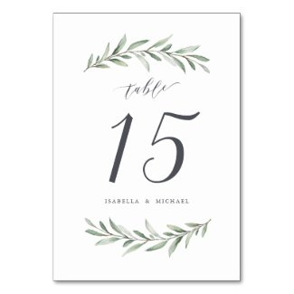 Modern calligraphy rustic greenery wedding table number