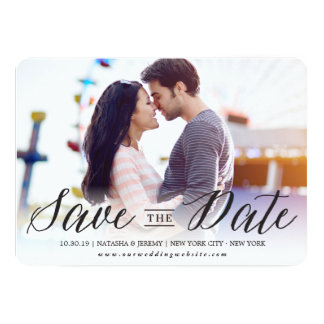 Modern Calligraphy Script Save The Date Photo Card