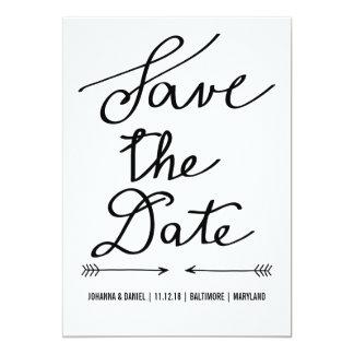 Modern Calligraphy Script Wedding Save The Date 5x7 Paper Invitation Card