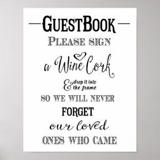 Modern Calligraphy Sign wine cork wedding print