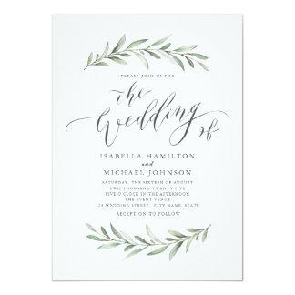 Modern calligraphy simple greenery wedding invitation