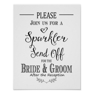Modern calligraphy Sparkler send off print