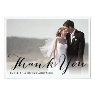 Modern Calligraphy Thank You Photo Card