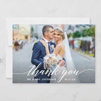 Modern Calligraphy Wedding Bride Groom Photo W Thank You Card