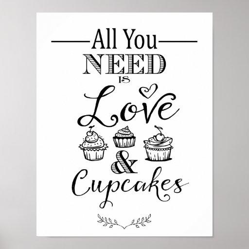 Modern calligraphy wedding cupcake sign print zazzle