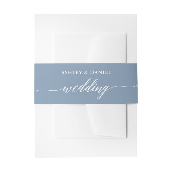Modern Calligraphy Wedding Dusty Blue Invitation Belly Band