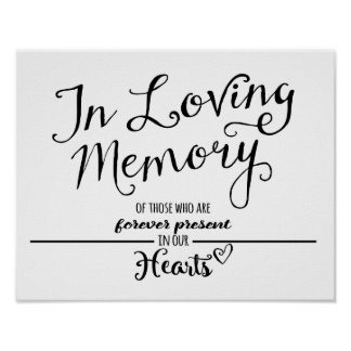 Modern Calligraphy wedding  In Loving Memory print