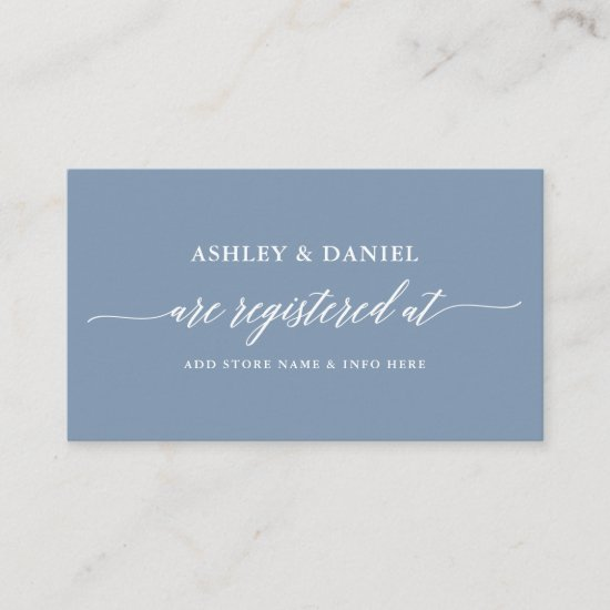 Modern Calligraphy Wedding Registry Dusty Blue Enclosure Card
