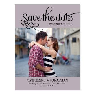 Modern Calligraphy Wedding Save The Date - Plum Postcard