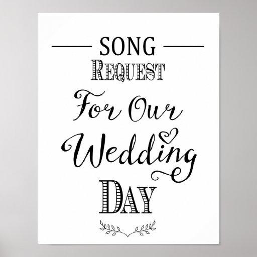 Modern Wedding Music: Modern Calligraphy Wedding Song Request Print