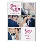 Modern Calligraphy Wedding Thank You Card Fuchsia Greeting Cards