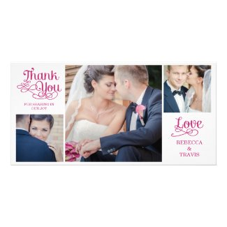 Modern Calligraphy Wedding Thank You Cards Fuchsia Personalized Photo Card