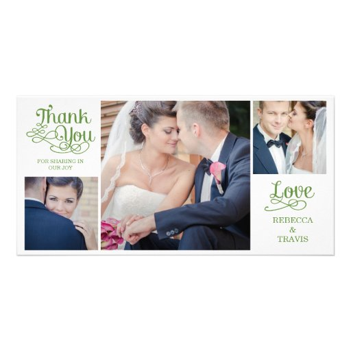 Modern Calligraphy Wedding Thank You Cards Green Custom Photo Card