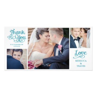 Modern Calligraphy Wedding Thank You Cards Green Personalized Photo Card