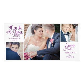 Modern Calligraphy Wedding Thank You Cards Purple Photo Card