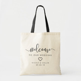 Modern Calligraphy Wedding Welcome Tote Bag