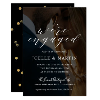 Modern Calligraphy We're Engaged Couples Photo Card