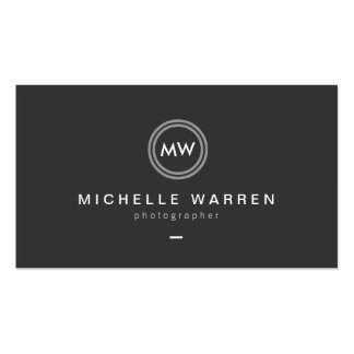Modern Camera Lens Initials Logo for Photographer Double-Sided Standard Business Cards (Pack Of 100)