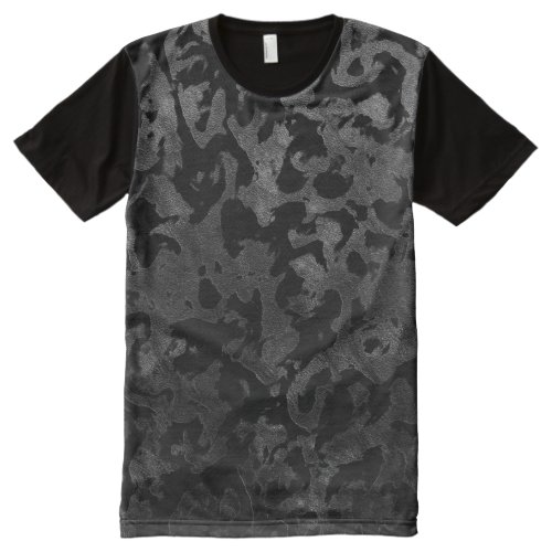 Modern Camo _Black and Dark Grey_ camouflage All_Over_Print T_Shirt