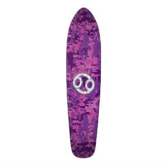 Modern Cancer Zodiac Sign Pink Digital Camouflage Skateboard Deck