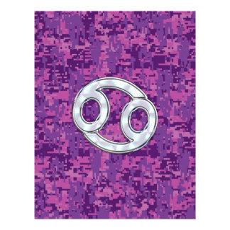 Modern Cancer Zodiac Symbol on Pink Digital Camo Flyer