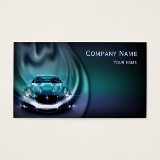 Modern Car In Blue Flame Business Card