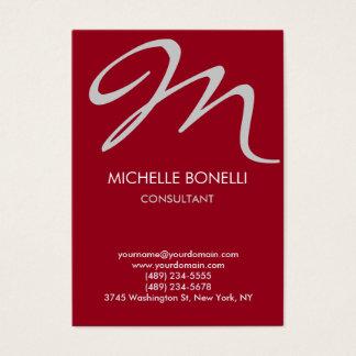 Modern carmine grey script monogram business card