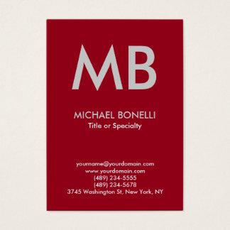 Modern carmine red gray monogram business card