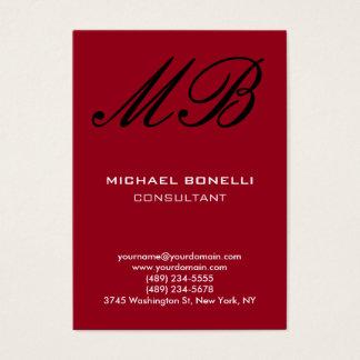 Modern carmine red script monogram business card