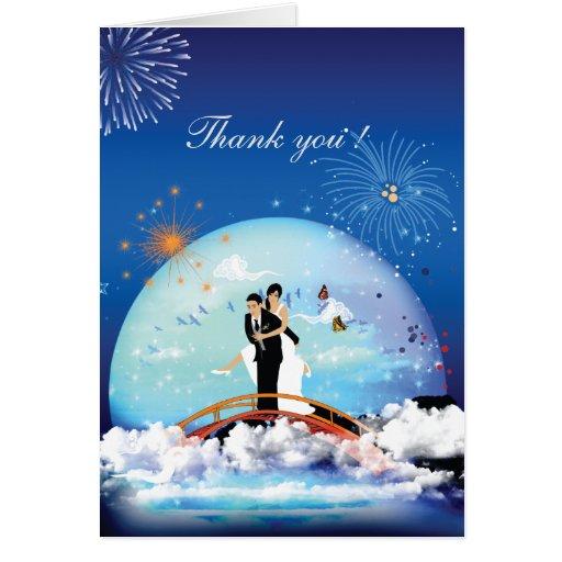 Modern Cartoon Wedding Couple Thank You Card
