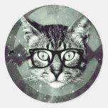Modern Cat Classic Round Sticker