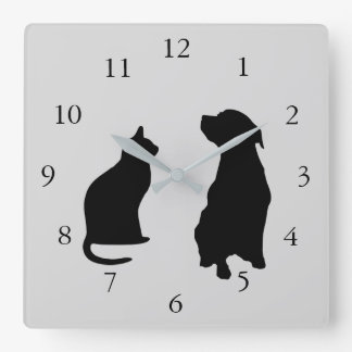 Modern cat dog  silhouettes pets gray background square wall clock