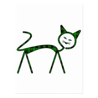 Modern cat filled with tartan pattern postcard