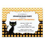 Modern Cat Halloween Birthday Party Invitation