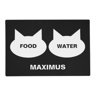 Modern Cat Silhouette Personalized Pet Placemat at Zazzle